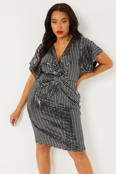 Curve Silver Knot Front Dress